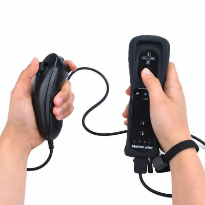 New Built in Motion Plus Remote Controller+Nunchuck+Case For Nintendo Wii&Wii U