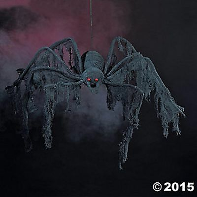 BLACK CREEPY CLOTH SPIDER 4FT Props Halloween NEW Haunted House Decor
