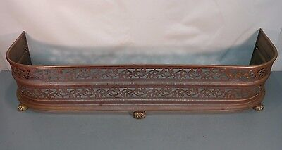 Antique PIERCED BRASS Footed Lion Paw FIREPLACE HEARTH FENDER GUARD Screen Vtg