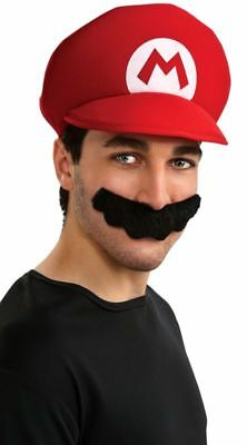 Super Mario Hat Moustache Deluxe Adult Costume Accessorty Kit
