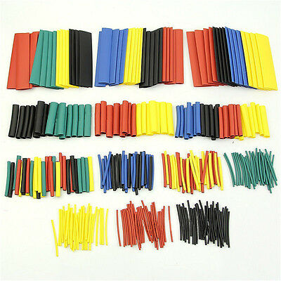 328 Pcs 5 Colors 8 Sizes Assorted 2:1 Heat Shrink Tubing Wrap Sleeve Kit top Z