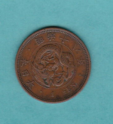 """JAPAN 1877 (Year 10) 1 """"SEN MEIJI SQUARE SCALES"""" 28mm JAPANESE COLLECTABLE COIN"""