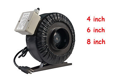 "4""/6""/8"" Inline Duct Fan Hydroponics Grow Tent Bathroom Booster Exhaust Blower"