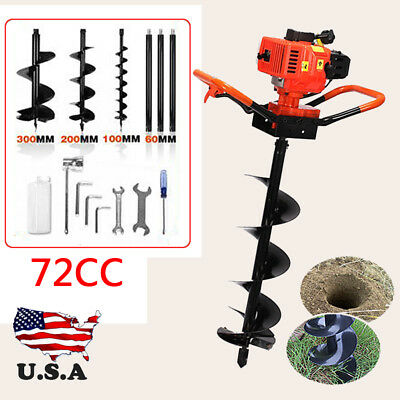 72 cc 3KW Petrol Gas Powered Earth Auger Post Hole Borer Ground Drill +3 Bits 52