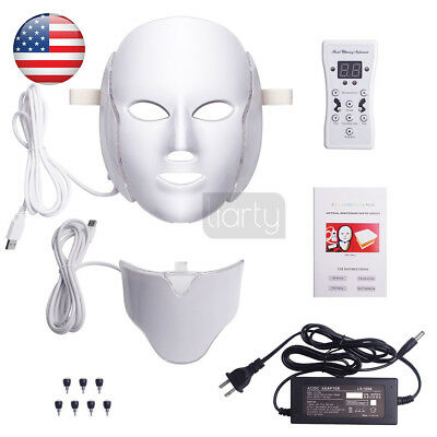 7 Led Photon Therapy Red Blue Green Light Treatment Facial Beauty Skin Care Mask