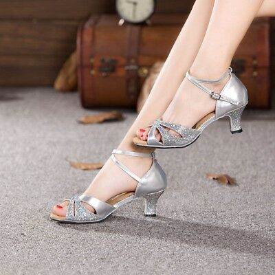 Adult Women Latin Dance Shoes Ballroom Party Heeled Open Toe Tango Salsa Shoes