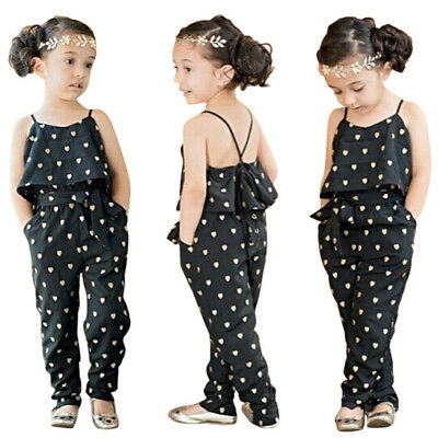 Kids Baby Girls Summer Heart Pattern Jumpsuit Romper Trousers + Belt Outfits USA