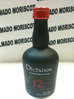 RON DICTADOR 12 yo  5cl 40% COLOMBIA glass miniatura mignonette minibottle