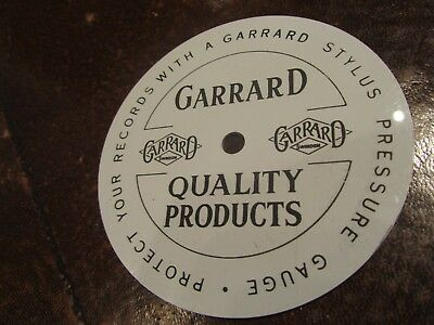 Garrard Stroboscopic Speed Indicator round disc for vinyl turntable 50 cycle VGC