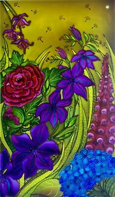 Summer Garden, Unique & Original hand painted stained glass style painted panels
