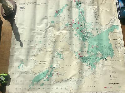 Vintage 1976 Map Chart BP licences in North Sea Celtic Sea British Irish Waters