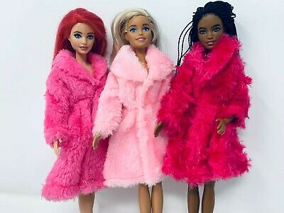 Beautiful long fur coat jacket for Barbie doll clothes dress outfit gift girls