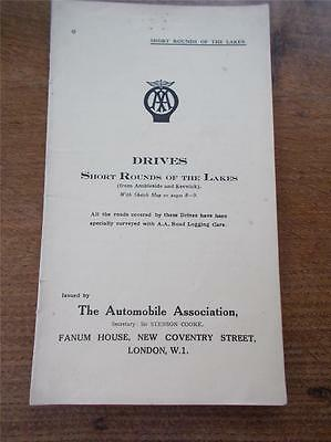 Vtg 40s Automobile Association Illustrated Map Route Book Drives round the LAKES