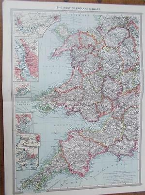 ANTIQUE 1906 HARMSWORTH colour MAP WEST OF ENGLAND & WALES RAILWAYS & CANALS VGC