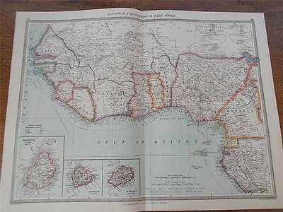 Antique c1904 Colour Map of EUROPEAN POSSESSIONS IN WEST AFRICA HARMSWORTH ATLAS