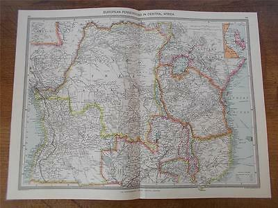 Antique c1904 Colour Map of EUROPEAN POSSESSIONS IN CENTRAL AFRICA HARMSWORTH