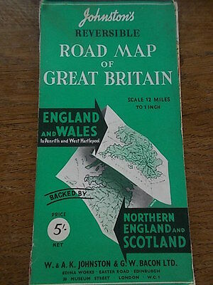 """Reversible Road Map of Great Britain 12miles/1"""" England Wales Scotland Ireland"""