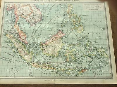 Antique 1904 colour Map East Indies Indo China Industries Harmsworth ATLAS