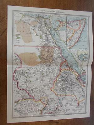 Antique c1904 Colour Map of EGYPT THE SUDAN ABYSSINIA ETHIOPIA HARMSWORTH ATLAS