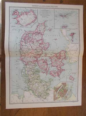 Antique c1904 colour map of DENMARK & SCHLESWIG HOLSTEIN SCANDINAVIA HARMSWORTH