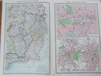 ANTIQUE 1906 HARMSWORTH colour MAP of DUBLIN & SOUTH EAST IRELAND EIRE & LONDON