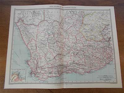 Antique c1904 Colour Map of CAPE COLONY & THE DIAMOND FIELDS AFRICA HARMSWORTH