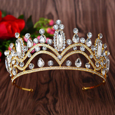 7.5cm High Clear Crystal Gold Golden Wedding Party Pageant Prom Tiara Crown