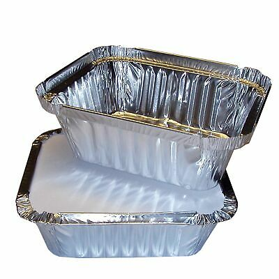 50 x Aluminium Foil Containers + Lids No2 Food Containers For Takeaway & Home UK