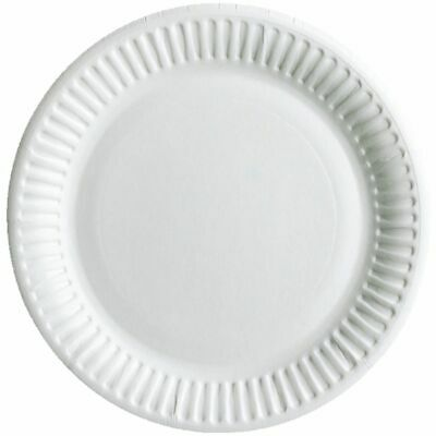 """Pack Of 100 White Disposable Paper Plates 6""""/7''/ 9"""" perfect for BBQ and parties"""