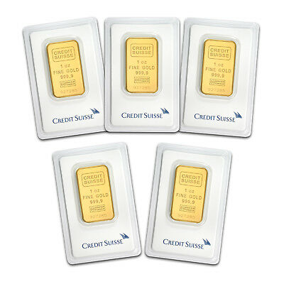 SPECIAL PRICE! Bank Wire Payment. 1 oz Gold Bar Credit Suisse In Assay -Lot of 5