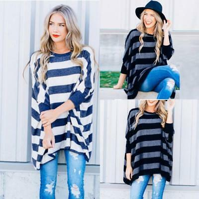 726dc2a03 Women Ladies Batwing Sleeve Loose Blouse Tops T-shirt Oversized Striped  Shirt US