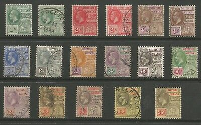 BRITISH GUIANA SG259-69c  1913-21 SET OF 17  USED INC ALL LISTED SHADES C.£395