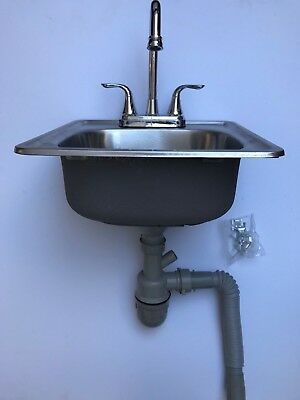 """15""""x 15"""" x 6"""" Stainless Steel Bar Sink w/Faucet and Strainer"""