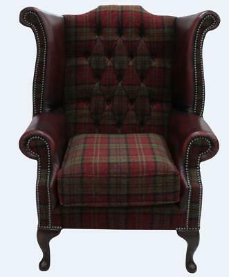 Chesterfield Queen Anne Wing Chair Oxblood Red Leather & Lana Terracotta Fabric
