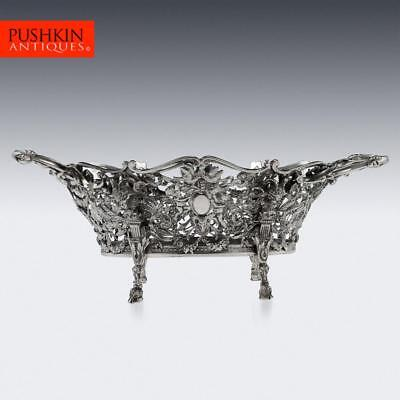 ANTIQUE 19thC FRENCH EMPIRE STYLE SOLID SILVER BASKET c.1896