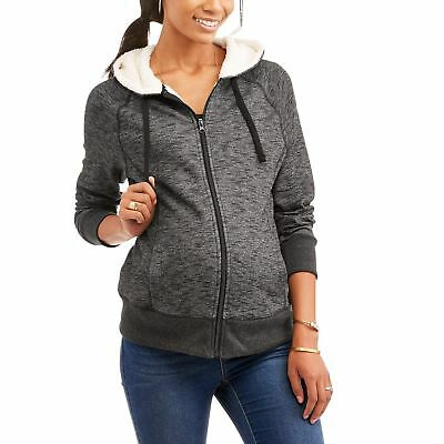 Faded Glory Maternity Sherpa Hoodie Full Zip Jacket - CHARCOAL HEATHER LARGE