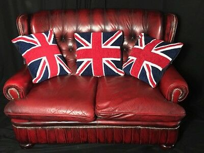 1 Handmade Luxury Chesterfield Style Oxblood Red leather 2 Seater Sofa High Back
