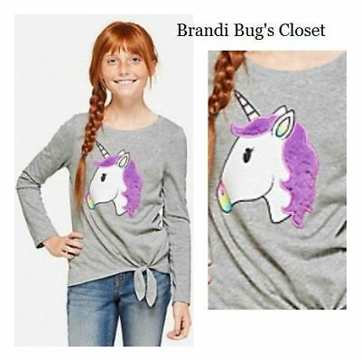 NWT Justice girls super cute furry UNICORN top in size 10 or 12