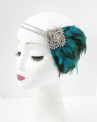 Teal Blue Green Silver Feather Headpiece 1920s Headband Flapper Gatsby 5105