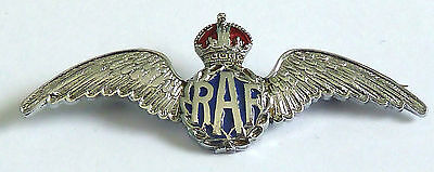 A Vintage Silver Tone Raf Sweetheart Brooch With Red & Blue Enamel