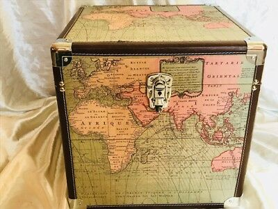 1 Unusual Aviator World Map Leather & Fabric Cube Travel Trunk Bed Side Table