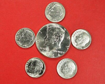 $1.00 Face Value 1 Kennedy Half & 5 Roosevelt Dimes 90% Silver Coins Circulated