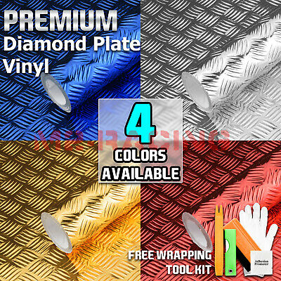 *Chrome Diamond Plate Thick Waterproof Anti Oil Vinyl Sticker Film Self Adhesive