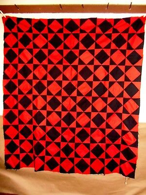 """Antique Farm House Quilt Top Lancaster County Pa All Hand Stitched """"Broken Dish"""""""