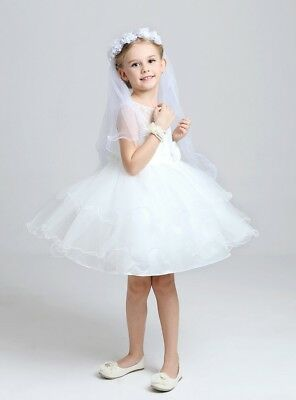 Girl Veil wedding Kid Headdress without comb Bow headpiece communion Elbow 2419