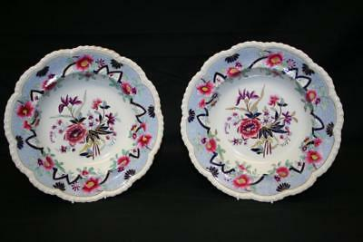 Lovely Pair Of Early J & W Ridgway Fancy Stone China Dishes - Circa 1814-1830