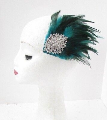 Teal Blue Green Silver Diamante Feather Fascinator Hair Clip Turquoise Vtg 5123