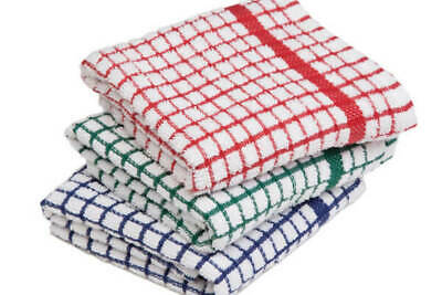 Pack Of -12 Terry 100% Cotton Tea Towels SET Kitchen Dish Cloths Cleaning Drying