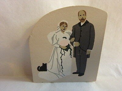 Vintage Bride & Grom,Wood Plaque Collectible by The Cats Meow Village