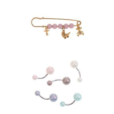 6Pcs Girl Crystal Pin Brooch Body Piercing Button Belly Navel Ring Bar Gifts